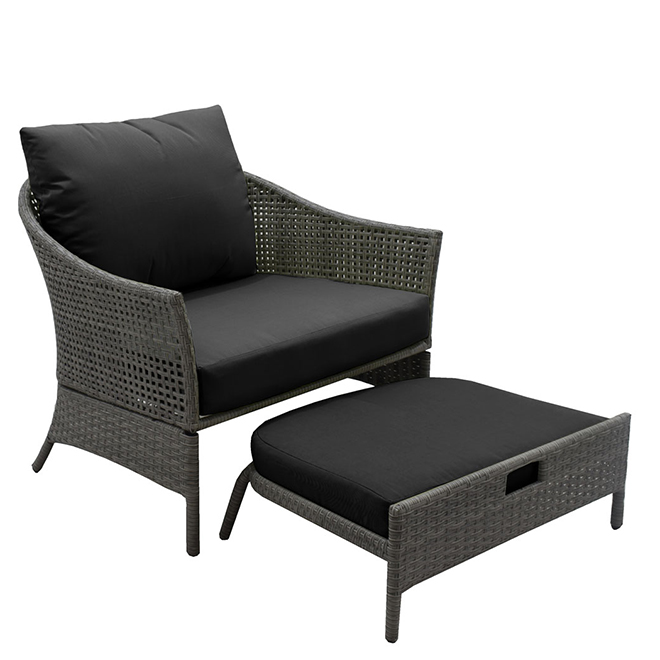 wicker patio chair with ottoman black and taupe