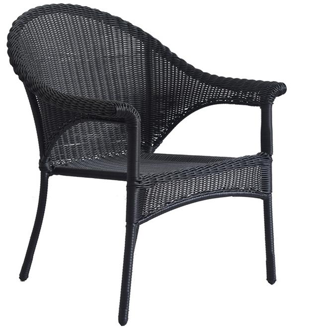 valleydale wicker patio chair stackable black