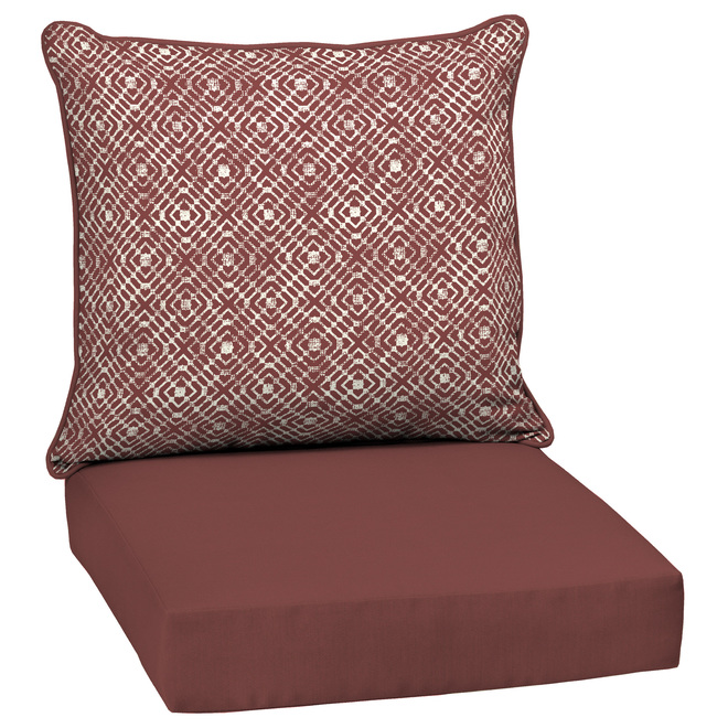 style selections deep seat patio chair cushions trellis 46 in x 25 in red