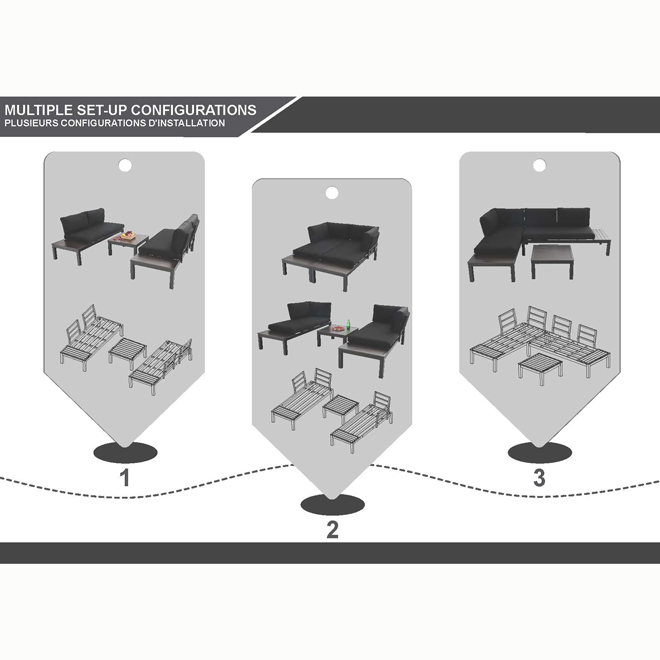 style selections maven outdoor furniture aluminum 2 pieces black