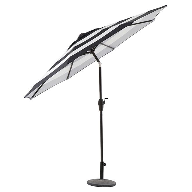 patio tilting market umbrella 9 ft aluminum polyester black white