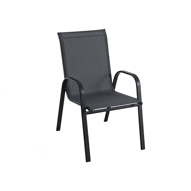 pelham bay stackable patio chair powder coated steel frame charcoal grey