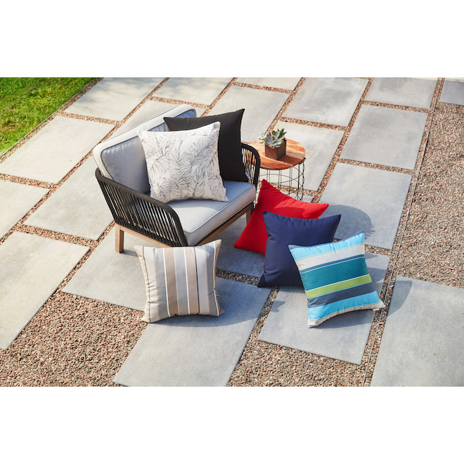 sunbrella patio pillow polyester and acrylic 20 in x 20 in neutral tones stripes
