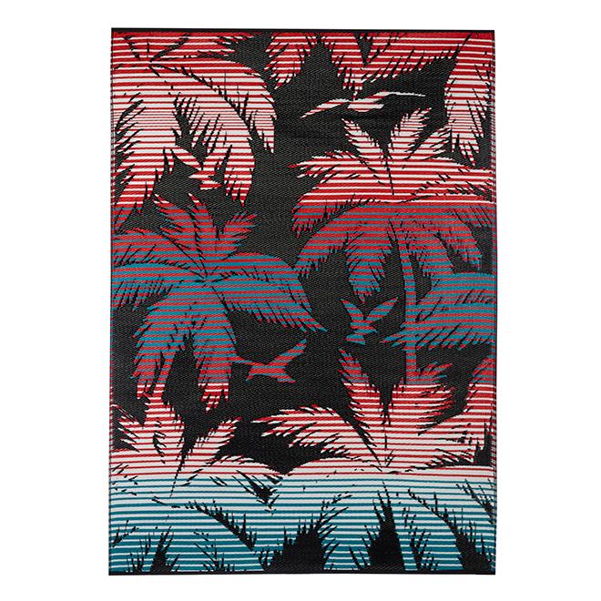 tapis exterieur reversible plastique 5 x 7 noir rouge