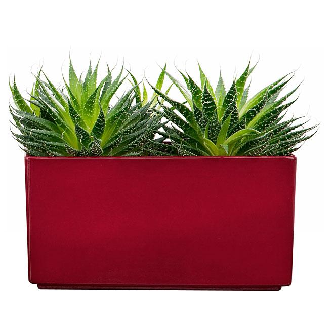 cache pot en ceramique rectangulaire 25cm rouge