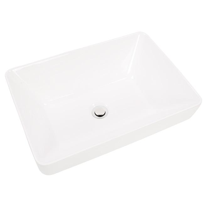 vessel sink semi recessed rectangular white