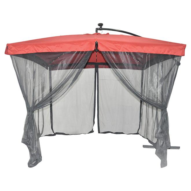 solar light cantilever patio umbrella with netting