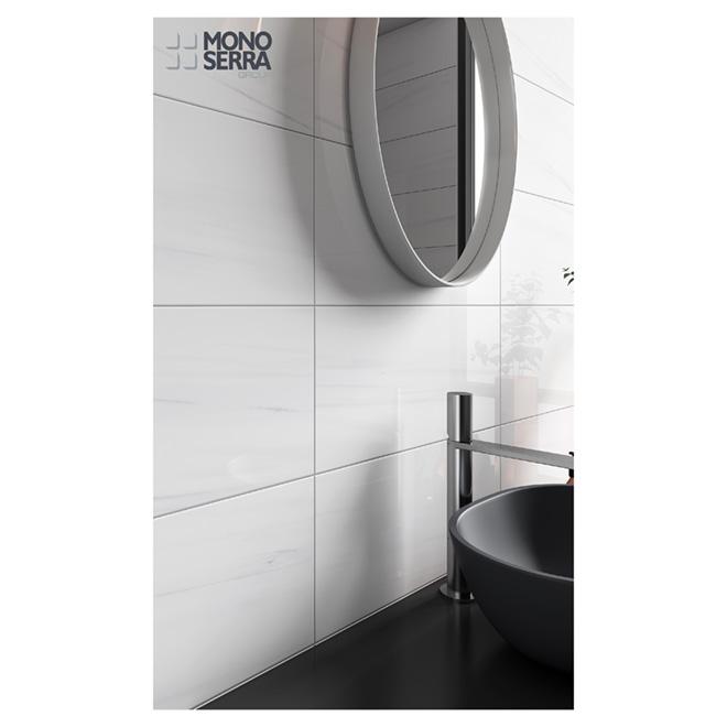 mono serra porcelain tile onice bianco white 12 x 24