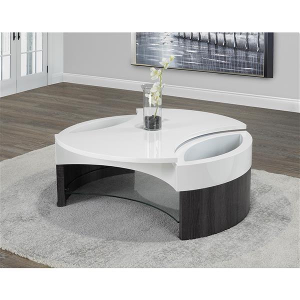 table basse avec rangement blanc gris