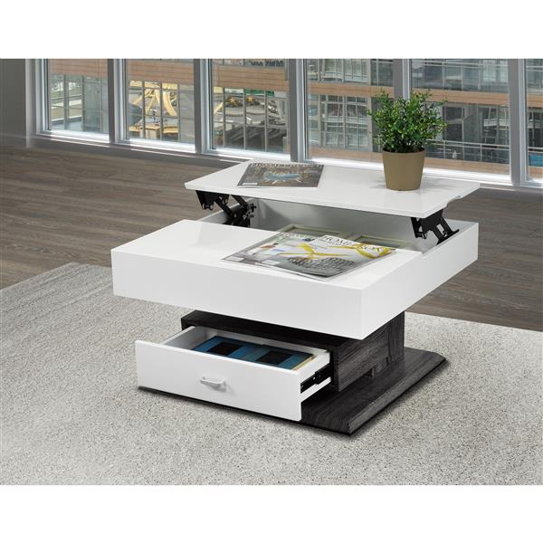 brassex 29 5 in x 29 5 in x 17 7 in white and grey rotating square lift top coffee table with storage drawer