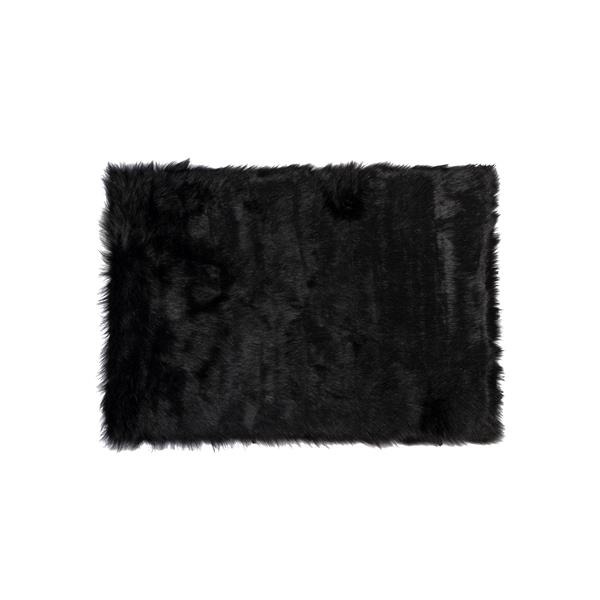 tapis hudson en fausse fourrure de mouton 2 x 3 noir