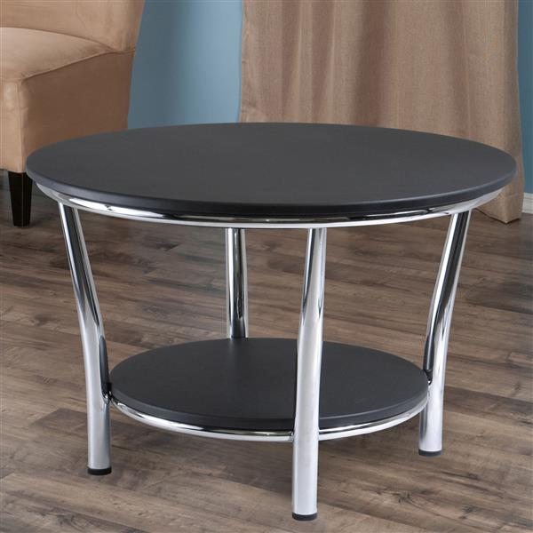 winsome wood maya 40 in x 18 in with polished steel legs and dark espresso top shelf round coffee table