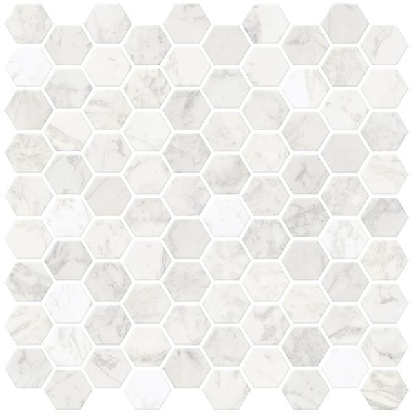 wallpops hexagon peel stick backsplash tiles 20 in x 20 in marble