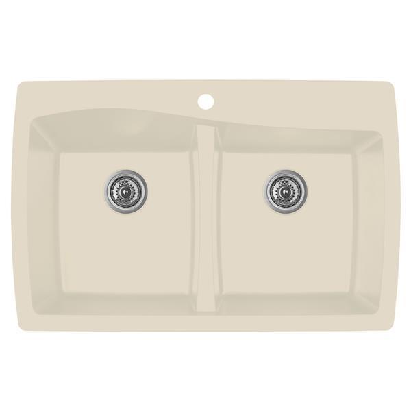 karran bisque quartz 34 in double kitchen sink