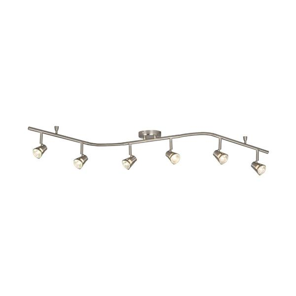 galaxy 6 light 61 in brushed nickel dimmable flexible track light with brushed nickel glass