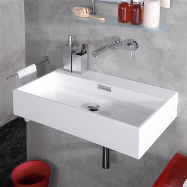 ws bath collections linea ceramic white ceramic rectangular vessel bathroom sink overflow drain
