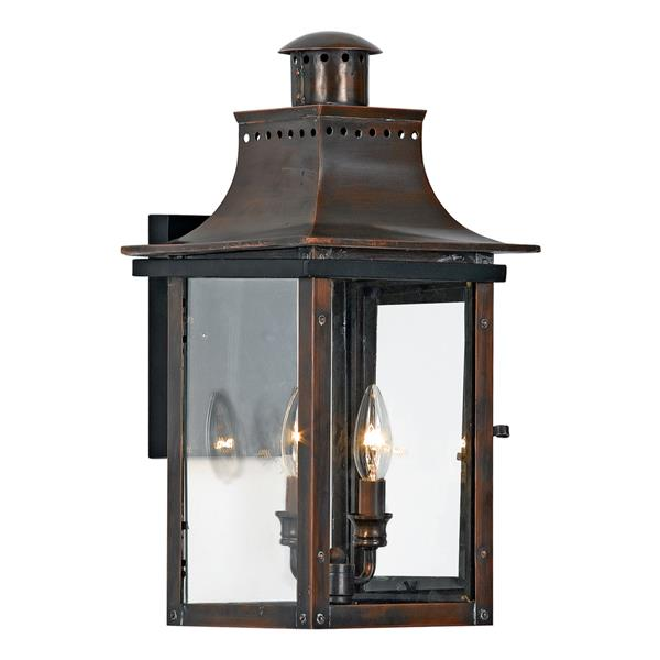 quoizel chalmers 19 in aged copper candelabra base 2 light outdoor wall sconce