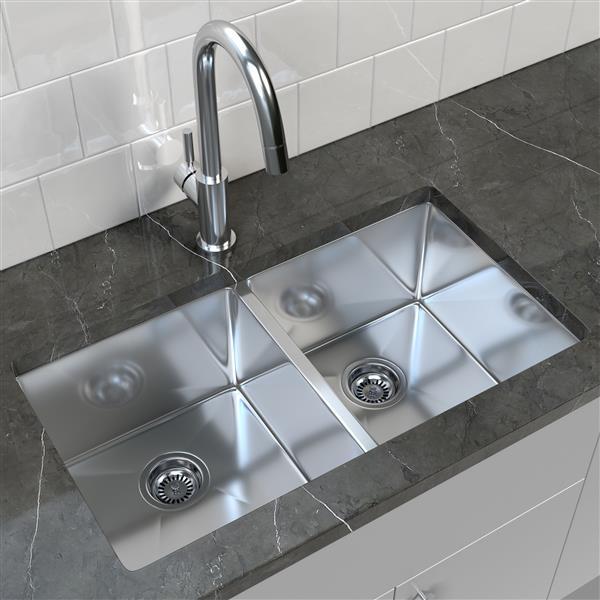 cantrio koncepts stainless steel double undermount kitchen sink 32 x 18