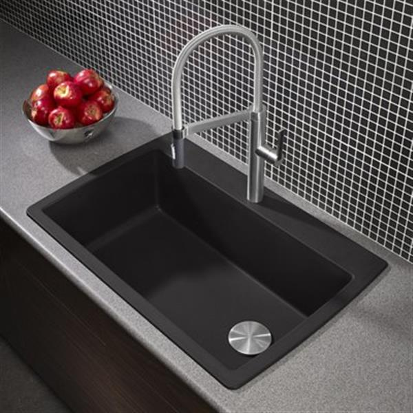 blanco diamond maxi 33 50 in x 22 in x 9 50 in anthracite silgranit single bowl kitchen sink