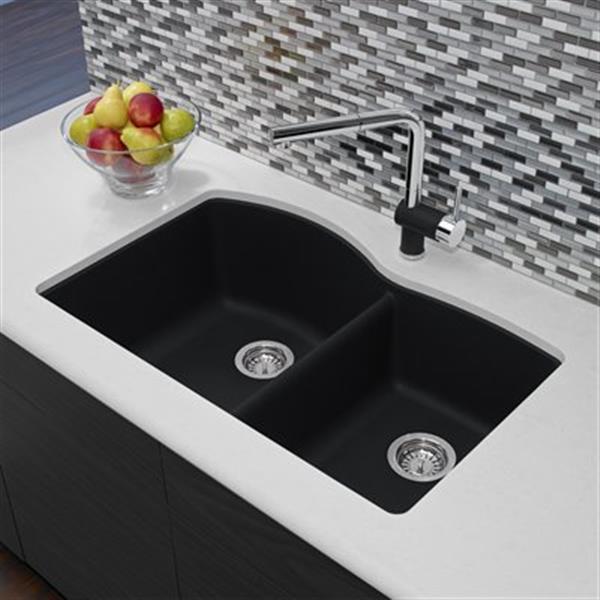 blanco diamond 20 75 in x 32 in anthracite silgranit offset kitchen sink