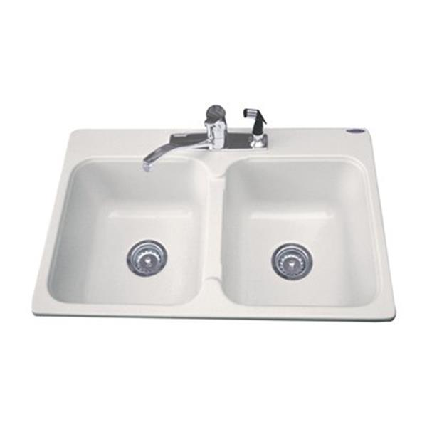 acri tec industries dynasty double basin kitchen sink 21 x 32 x 8 acrylic