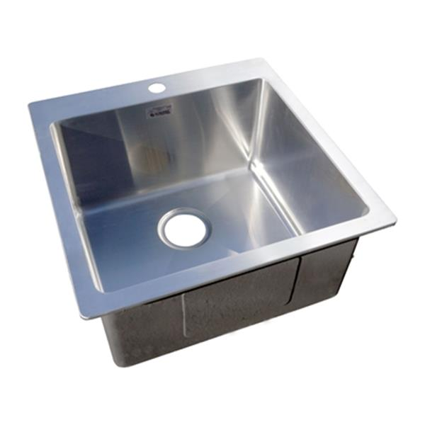 acri tec platinum collection 10 in x 20 in stainless steel drop in small radius corner single basin laundry and utility sink