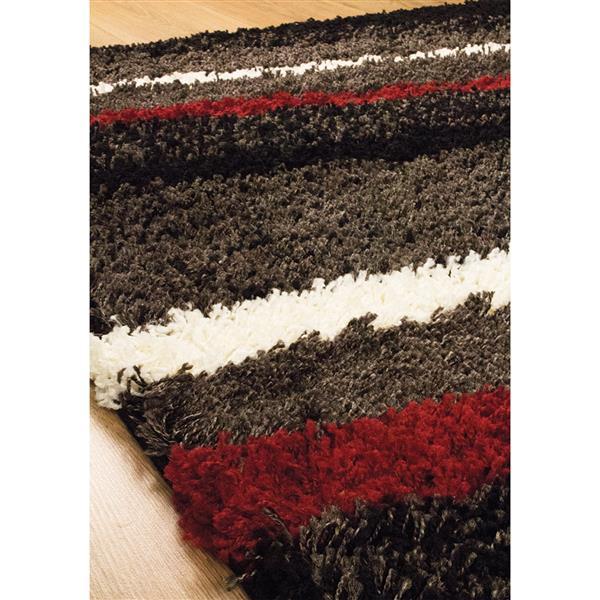 tapis shaggy rayures de kalora 8 x 11 charbon