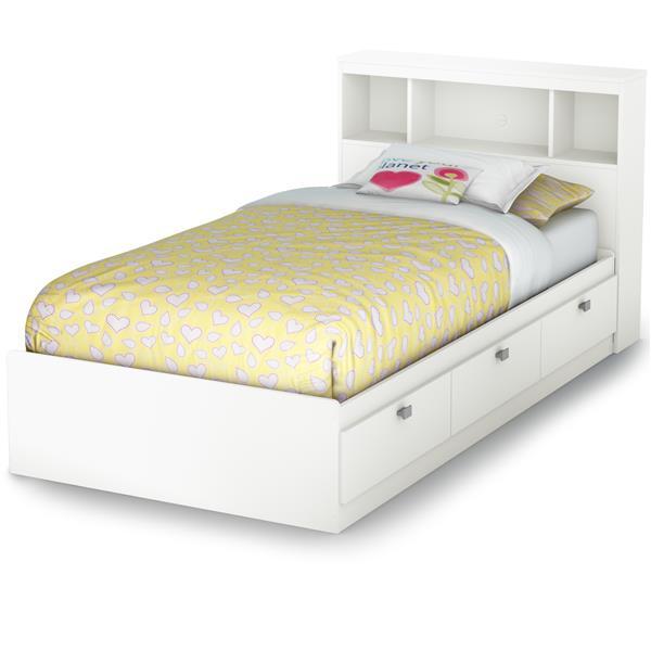 lit avec rangement et tete de lit bibliotheque spark blanc