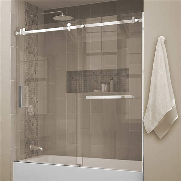 porte de bain coulissante quartz avec porte serviettes 60