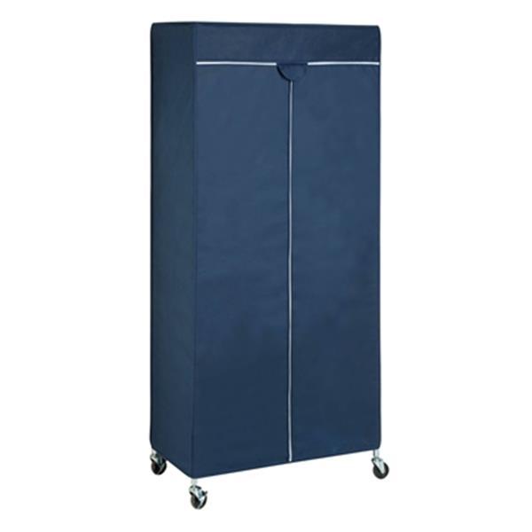 honey can do navy white portable garment rack cover gar 0219