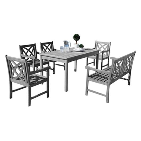 vifah renaissance outdoor patio hand scraped 6 piece wood dining set