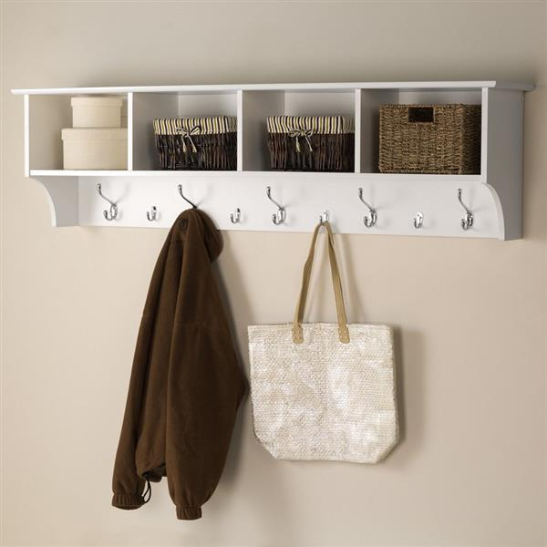 prepac white 9 hook wall mounted coat rack