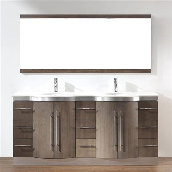 spa bathe delucia smoked ash double sink vanity with nougat quartz top common 72 in x 22 in