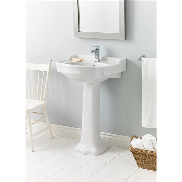 cheviot antique pedestal bathroom sink 22 1 2 x 18 1 2 white