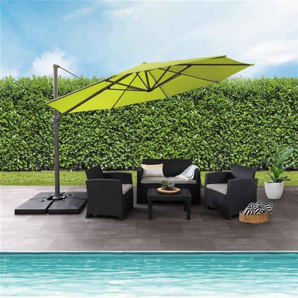 corliving deluxe offset patio umbrella lime green