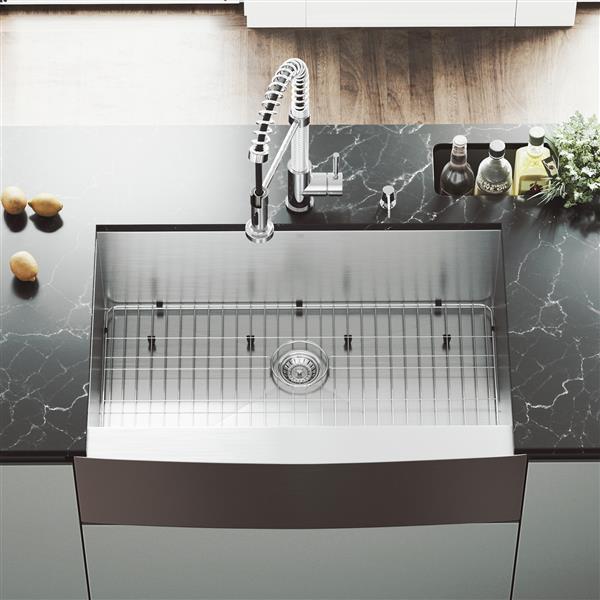 vigo stainless steel kitchen sink grid and strainer 33 in