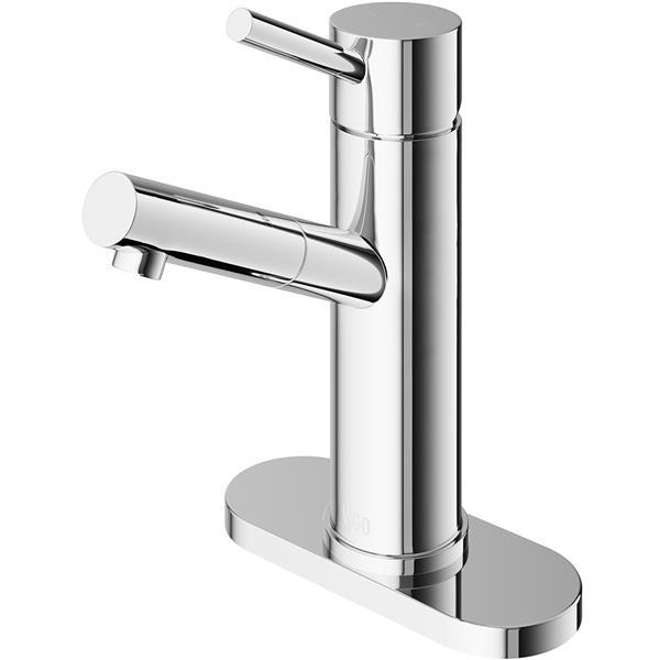 vigo single hole bathroom faucet with deck plate chrome