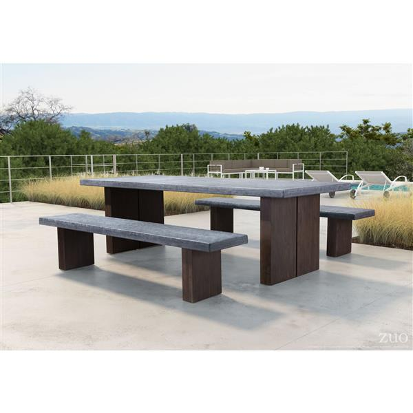 zuo modern windsor patio table cement and natural