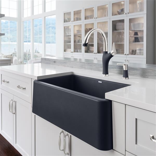 blanco ikon farmhouse kitchen sink 30 in black
