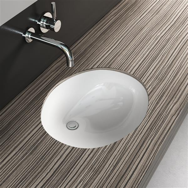 cantrio koncepts vitreous china oval undermount bathroom sink with overflow