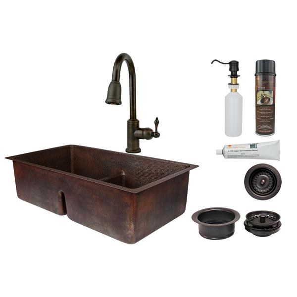 premier copper products copper sink with faucet and drain 33 in