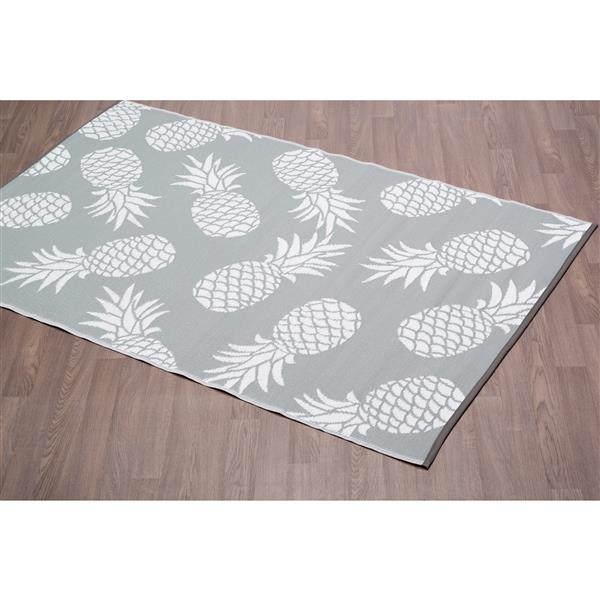 erbanica pineapples outdoor plastic grey rug 4 x 6