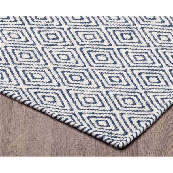 tapis laine reversible motifs diamants ivoire marine 5 x8