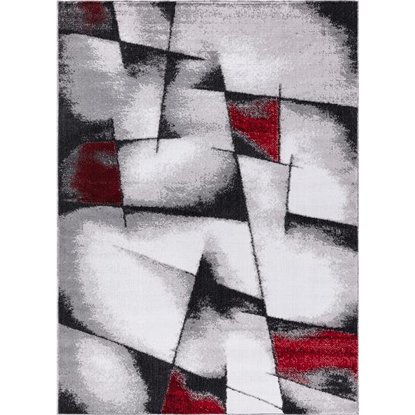 tapis geored 8 x 11 polypropylene gris rouge