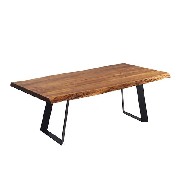 corcoran acacia live edge dining table with black rocket legs 72