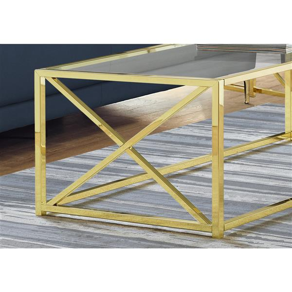 monarch rectangular glass coffee table 44 in gold