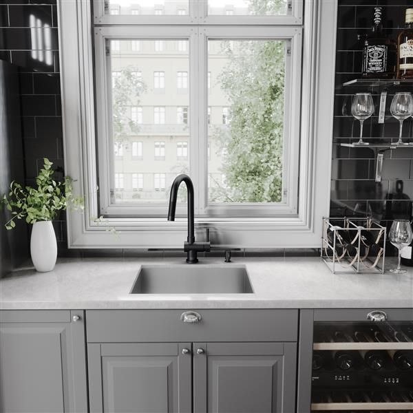 vigo gramercy pull down kitchen faucet matte black