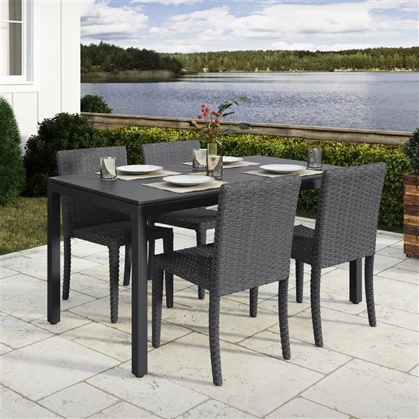 corliving outdoor dining set charcoal grey and black 5 pc