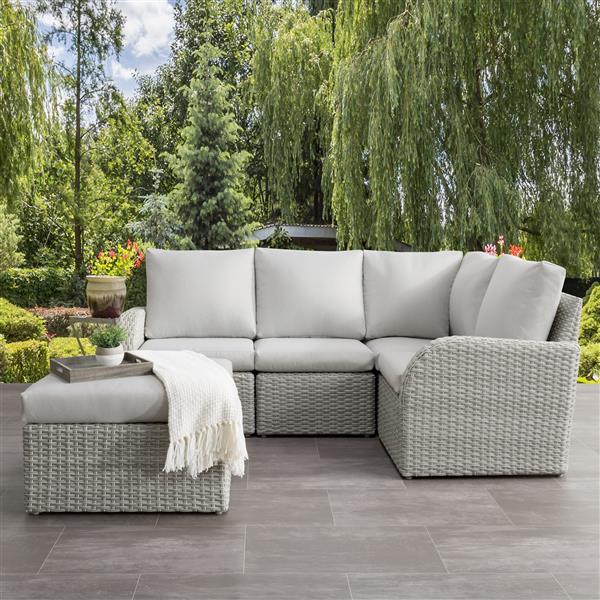 corliving corner sectional patio set blended grey light grey 5pc