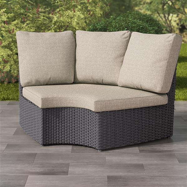 corliving charcoal grey resin wicker corner patio chair grey 71